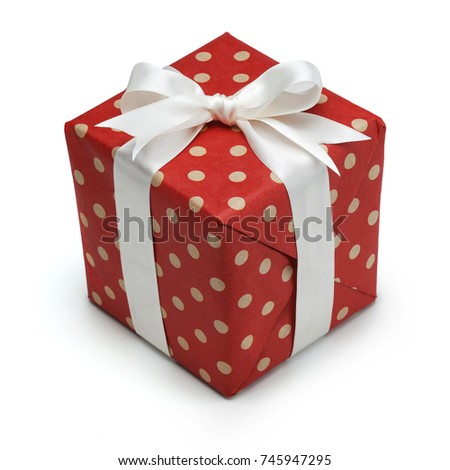 Gift box wrapped craft paper decorated stock photo royalty free a gift box wrapped in craft paper and decorated with red satin ribbon isolated on white negle Image collections