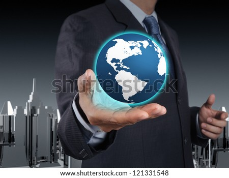 a glowing earth globe in his hands