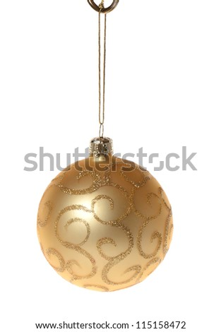 A gold christmas decoration isolated on white - stock photo