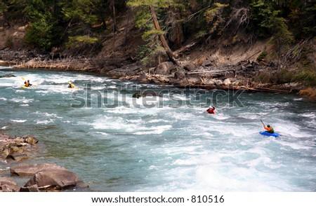a group kayaking - stock photo