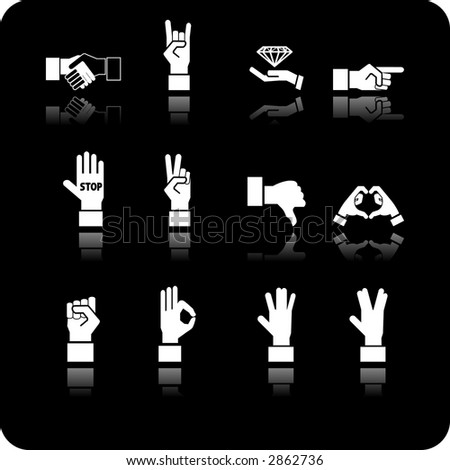A hand elements icon set. Raster version