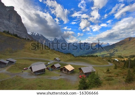 A high-mountainous farm of maturing of cheeses in the Swiss Alps. - stock photo