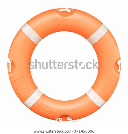 A life buoy for safety at sea - isolated over white background vintage