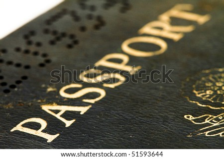 a macro image of an old usa passport - stock photo