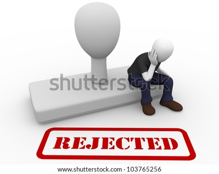 A man is worried by a rejection printed with a rubber stamp - stock photo