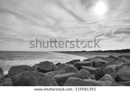 A north carolina beach shore shown in black and white - stock photo