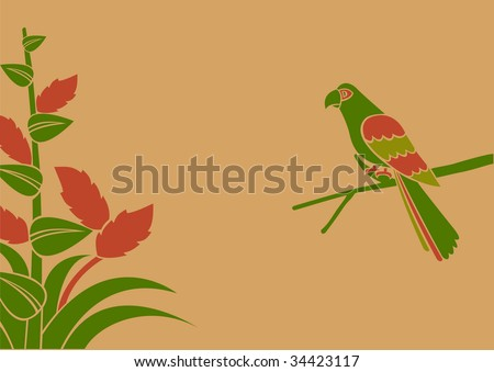 a parrot on a branch - stock photo