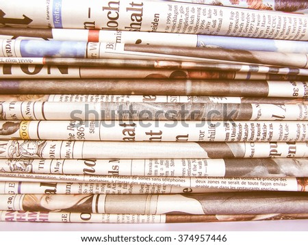 A pile stack of many world newspapers vintage - stock photo