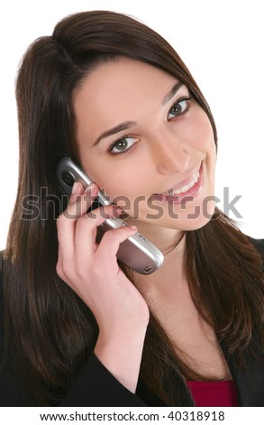 A pretty business woman talking on a cell phone