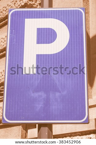 A road sign for a parking area vintage - stock photo