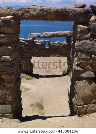 a ruin at isla del sol at lago titicaca in bolivia - stock photo