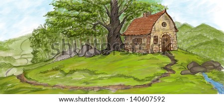a rustic house in the woods