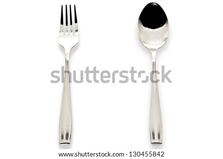 """A spoon and fork isolated on a white background"""