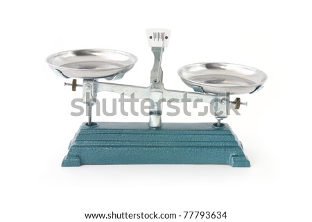 a weight scales isolated unbalance - stock photo