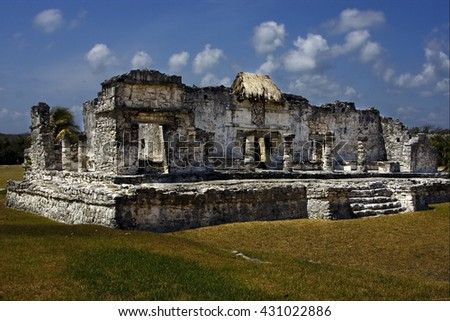 a wild angle of the tulum temple in  mexico america