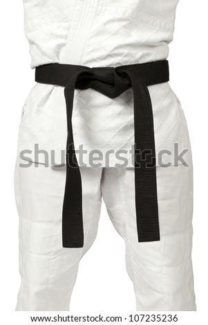 a women wearing a black belt - stock photo