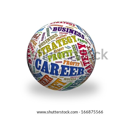a word cloud designed in a 3D sphere - business strategy ,profit,career - stock photo