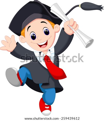 A young graduate man holding certificate jumping for joy - stock photo