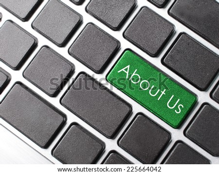 'about us', message on keyboard enter key.