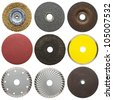 Abrasive disks for metal and stone grinding, cutting. - stock photo