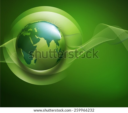 abstract background for ecological design with a leaf, a drop and globe , - stock photo