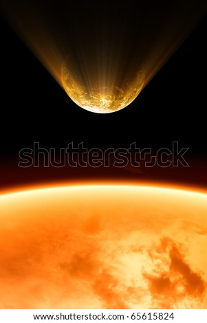 2012 abstract background - planet burning close to sun - stock photo