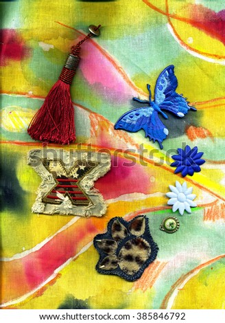 Abstract batik with stitch designs and tassel thread. - stock photo
