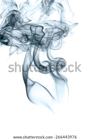 Abstract blue silky smoke isolated on white background - stock photo