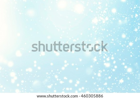 Abstract Christmas Background. Holiday Defocused Background With Snowflakes and Stars, beauty  blurred bokeh - stock photo