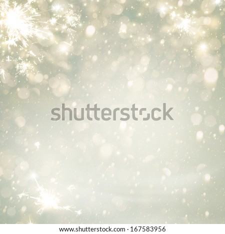 Abstract Christmas Golden Holiday Background  Glitter Defocused Background With Blinking Stars. Blurred Bokeh  - stock photo
