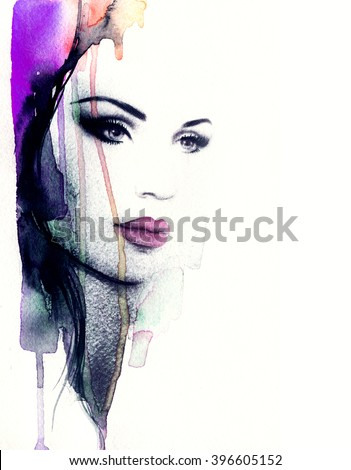 Abstract fashion watercolor illustration. Beautiful woman face.  - stock photo