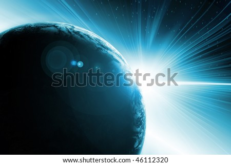 Abstract illustration of Solar eclipse behind planet earth seen from outer space - stock photo