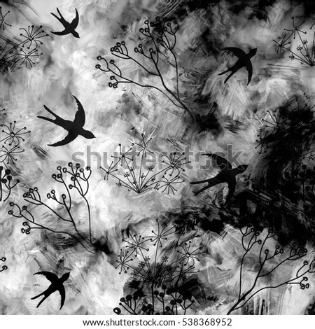 Abstract landscape with flying swallows in sky on grunge striped blurred land background in black and white design