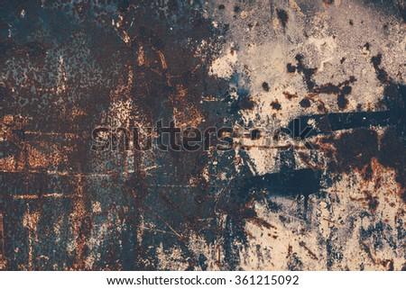 Abstract large rust surface background. Grungy background with space for text or image. Dark vintage wall  - stock photo