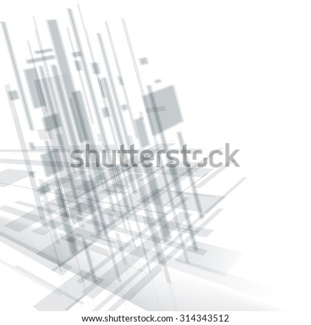 Abstract modern cover. Technology, business or science  light grey background. Digital design, transparent geometric shapes. Futuristic style. Raster version - stock photo