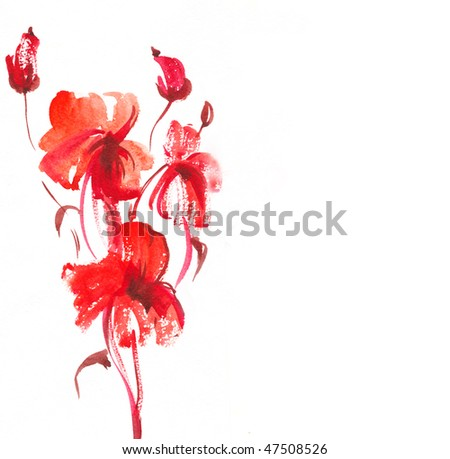 Abstract painted floral background - stock photo