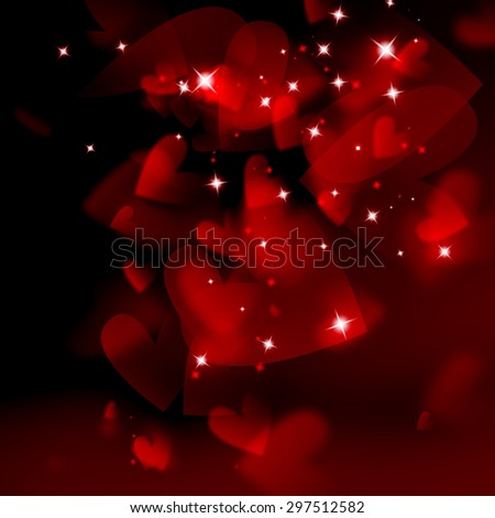 abstract romantic background with hearts and stars  - stock photo