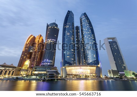 Abu Dhabi illuminated at night. United Arab Emirates, Middle East