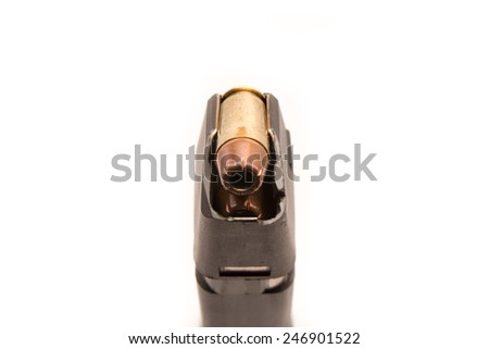 .45acp magazine with bullets isolated on white - stock photo