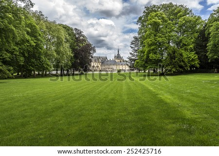 115 acres of park in famous Chateau de Chantilly (Chantilly Castle, 1560) - historic chateau located in town of Chantilly, Oise, Picardie, France.