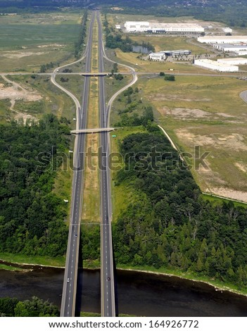 aerial view of a long straight stretch of Highway 403 near Brantford, Ontario, Canada	 - stock photo