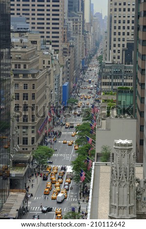 Aerial view of 5th Avenue, Manhattan, New York, USA - stock photo