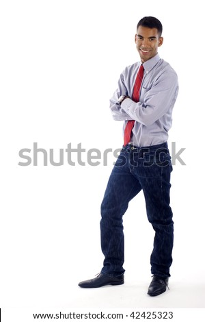 African American / Hispanic mixed business man full body,  a lot of copyspace, Isolated over a white  background - stock photo