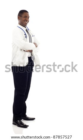 African American male doctor full length portrait - stock photo