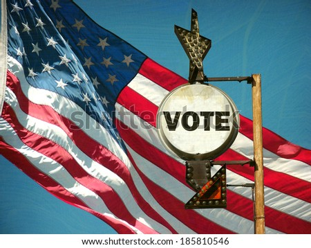 aged and worn vintage photo of american flag and vote sign                               - stock photo