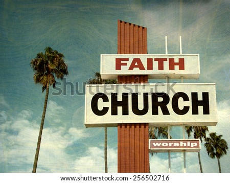 aged and worn vintage photo of church sign with palm trees                              - stock photo