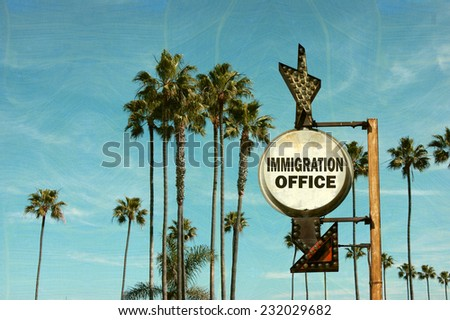 aged and worn vintage photo of  immigration office sign with palm trees                             - stock photo