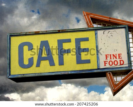 aged and worn vintage photo of retro neon cafe sign                              - stock photo