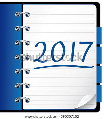 2017 agenda. Blue office notebook. Illustration.  - stock photo
