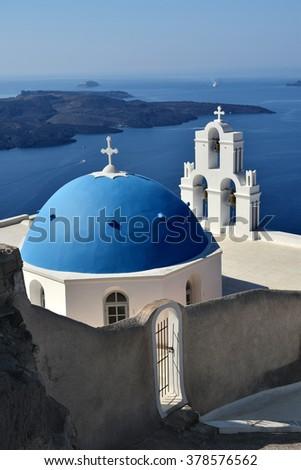 Agios Theodori Church (Saint Theodore) in Firostefani, Santorini, Greece. - stock photo